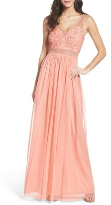 Women's Adrianna Papell Mesh Gown $229 thestylecure.com