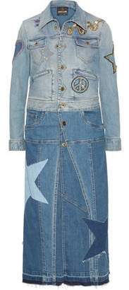 Roberto Cavalli (ロベルト カヴァリ) - Roberto Cavalli Two-Tone Appliquéd Denim Coat
