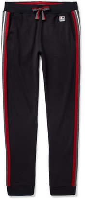 Ermenegildo Zegna Tapered Stripe-Trimmed Loopback TECHMERINO Wool-Jersey Sweatpants - Men - Navy