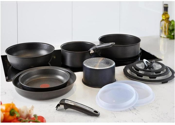 tefal ingenio induction 13 piece pan set black. Black Bedroom Furniture Sets. Home Design Ideas