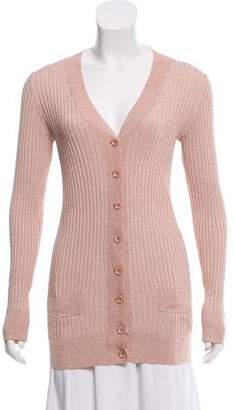 Ganni Shimmer Rib Knit Cardigan