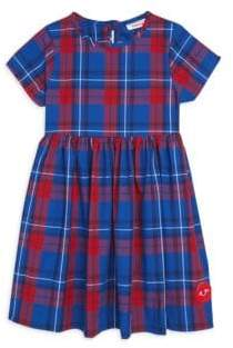 Smiling Button Little Girl's& Girl's Liberty Plaid Cotton Sunday Dress