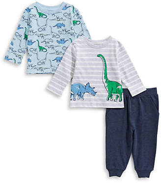 Little Me Baby Boy's Three-Piece Dinosaur Cotton Tops Pants Set