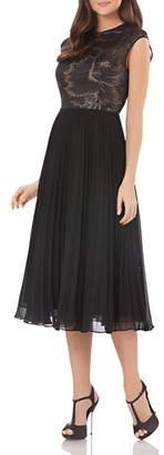 Carmen Marc Valvo Sequined Bodice Dress