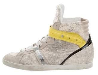 Barbara Bui Embossed Wedge Sneakers