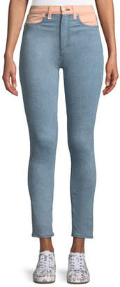 Rag & Bone Phila High-Rise Skinny Jeans with Colorblocking Detail