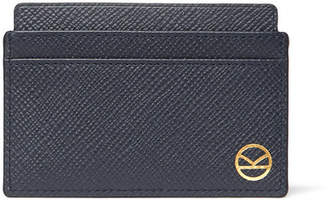 Smythson Kingsman Panama Cross-Grain Leather Cardholder - Men - Navy