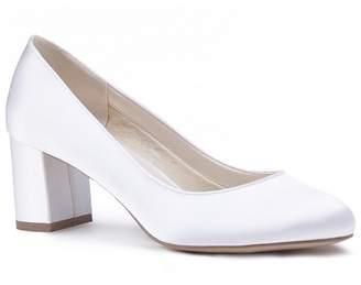Alvina Pink by Paradox London - Ivory Satin 'Alvina' Mid Heel Block Court Shoes