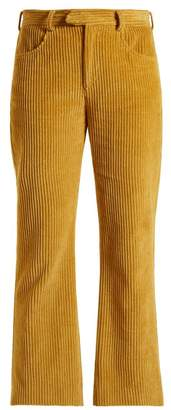 Isabel Marant Mereo Kick Flare Corduroy Cropped Trousers - Womens - Yellow