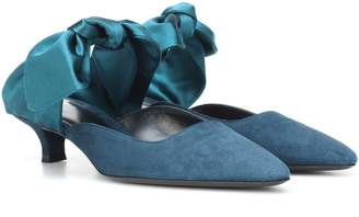 The Row Coco suede and satin mules