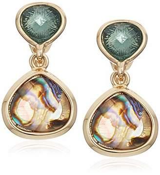 Anne Klein Women's Gold Tone Stone Clip Drop Earrings