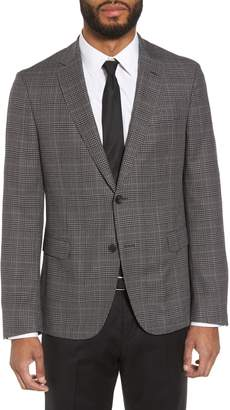 BOSS Nobis Trim Fit Plaid Wool & Silk Blend Sport Coat