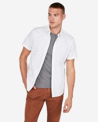 Express Patterned Button-Down Short Sleeve Shirt