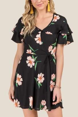 francesca's Scout Floral Ruffle Top Wrap Dress - Black