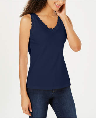 Karen Scott Cotton Lace-Trim Tank Top