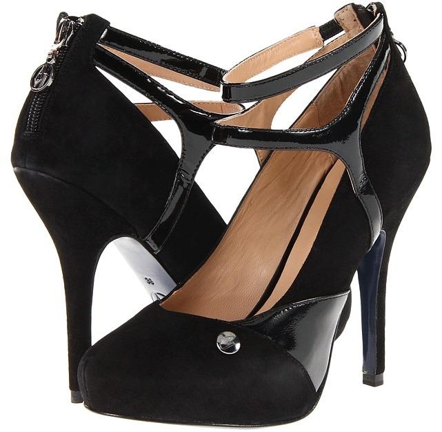 Armani Jeans Strappy High Heeled Pump 2 (Black) - Footwear