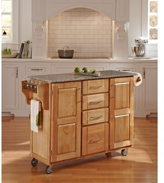 Home Styles Large Kitchen Cart, Natural with Salt & Pepper Granite Top