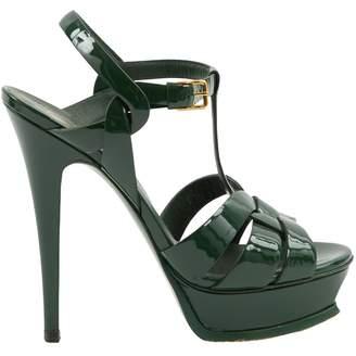 Saint Laurent Tribute Green Patent leather Sandals