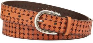 Brunello Cucinelli Men's Embossed Leather Belt