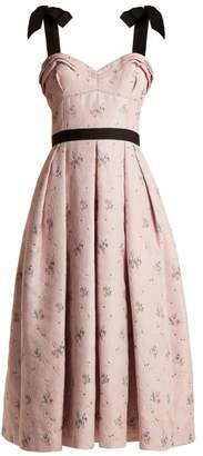Carolina Herrera Floral Jacquard Pleated Midi Dress - Womens - Pink Multi