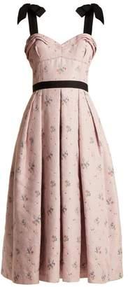 Carolina Herrera - Floral Jacquard Pleated Midi Dress - Womens - Pink Multi