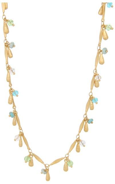 Lauren Ralph Lauren 36 Multiple Bead Charm Necklace (Gold/Blue) - Jewelry
