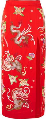 ATTICO Embellished Satin Midi Skirt - Red