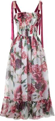 Dolce & Gabbana Peony Print Tie Shoulder Dress