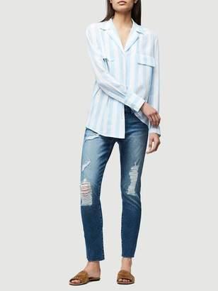 Frame Denim Pocket Silk Blouse Clear Blue Multi