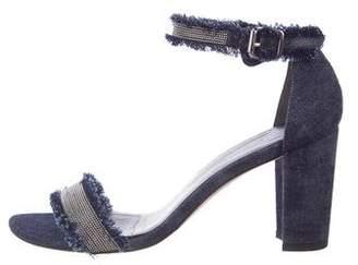 Stuart Weitzman Denim Embellished Sandals