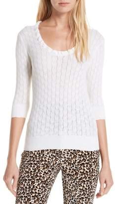 Rebecca Taylor Ruffle Neck Merino Wool Sweater