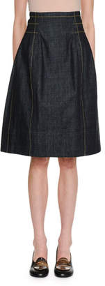Marni A-Line Back-Zip Denim Knee-Length Skirt w/ Topstitching Detail