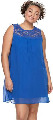Juniors' Plus Size Lily Rose Lace-Yoke Shift Dress