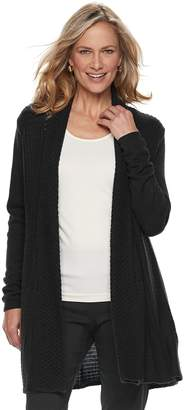 Dana Buchman Petite Pleated Open-Work Cardigan Sweater