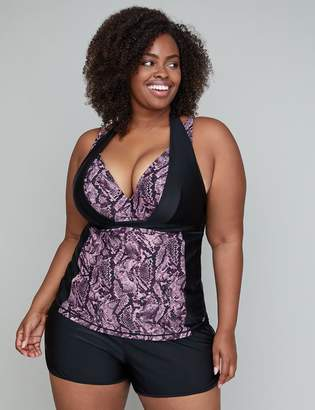 Lane Bryant Halter Strap Active Swim Tankini Top with Built-In Underwire Bra