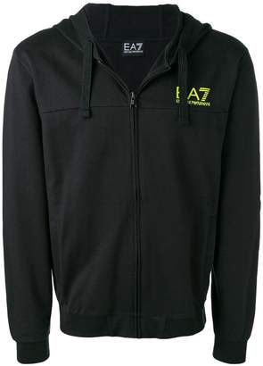 Emporio Armani Ea7 logo print zipped hoodie
