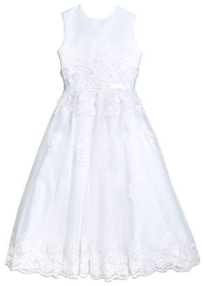 Joan Calabrese Hand-Beaded Lace Applique Dress, Size 5-12