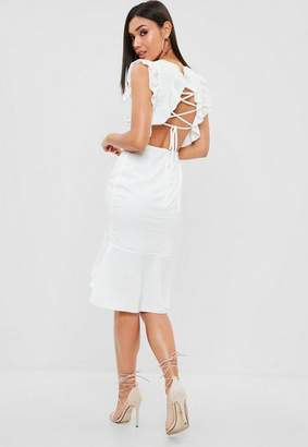 Missguided White Round Neck Lace Up Back Midi Dress