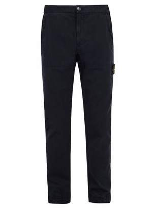 Stone Island Slim Leg Cotton Blend Trousers - Mens - Navy