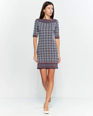 Max Studio Printed Boatneck Dress