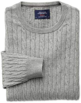 Charles Tyrwhitt Light Grey Cotton Cashmere Cable Crew Neck Cotton/Cashmere Sweater Size XXL