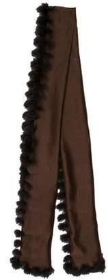 Cassin Fur-Trimmed Chiffon Scarf
