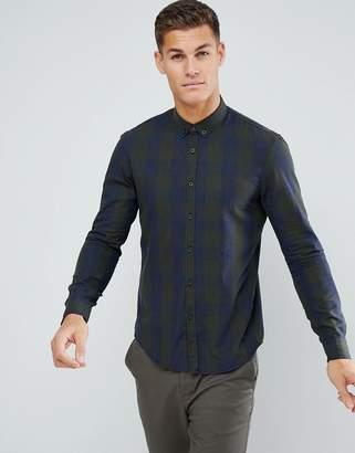 Tom Tailor Check Shirt In Navy & Khaki