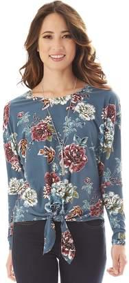 Iz Byer Floral Tie-Front Top & Necklace