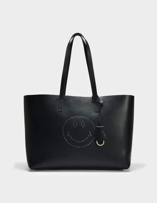 Anya Hindmarch Smiley Ebury Shopper Bag in Black Circus Leather
