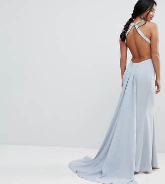 Jarlo Petite Open Back Maxi Dress With Train Detail