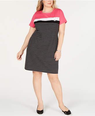 Karen Scott Plus Size Short-Sleeve Striped Dress, Created for Macy's