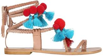 10mm Pompoms & Tassels Leather Sandals