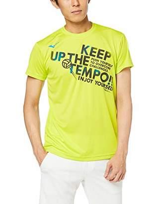 Mizuno (ミズノ) - [ミズノ] バレーボールウェア グラフィックTシャツ 半袖 吸汗速乾 ドライ 部活 練習 男女兼用 V2MA8085 ライムグリーン XL