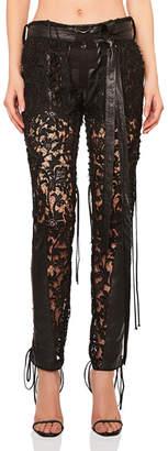Saint Laurent Lace Up Lace & Leather Pants